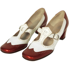 Vintage 1960s Shoes Ladies White & Red Patent Leather T Strap Brogues 8.5 2A/4A - Poppy's Vintage Clothing