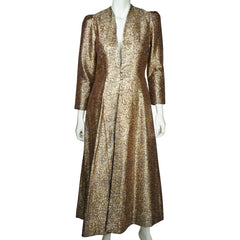Vintage Gold Metallic Brocade Evening Coat 1960s Ladies Size Medium - Poppy's Vintage Clothing