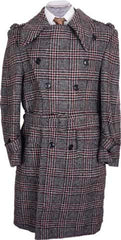 1970s Mens Mod Coat Tweed Trench Style Plaid Wool Size 40 R - Poppy's Vintage Clothing