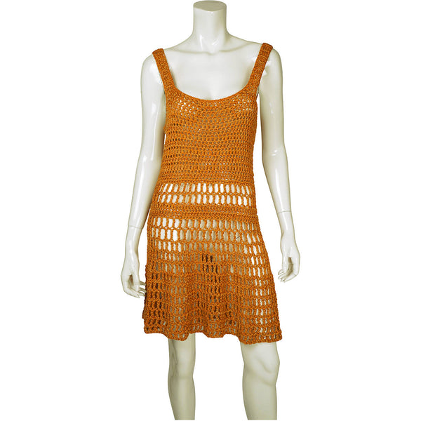 1960s-Orange-Crochet-Hand-Knit-Dress