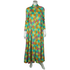 Vintage 1960s Hostess Gown Novelty Print Pretzel Pattern Lounging Robe Size M L - Poppy's Vintage Clothing
