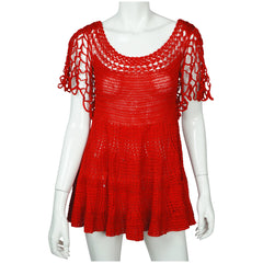 Vintage 1960s Red Crochet Top Hand Knit Pullover Size M - Poppy's Vintage Clothing