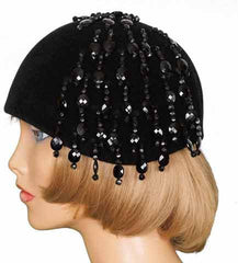 1960s Cloche Hat with Crystal Beads, Black Felt - Poppy's Vintage Clothing