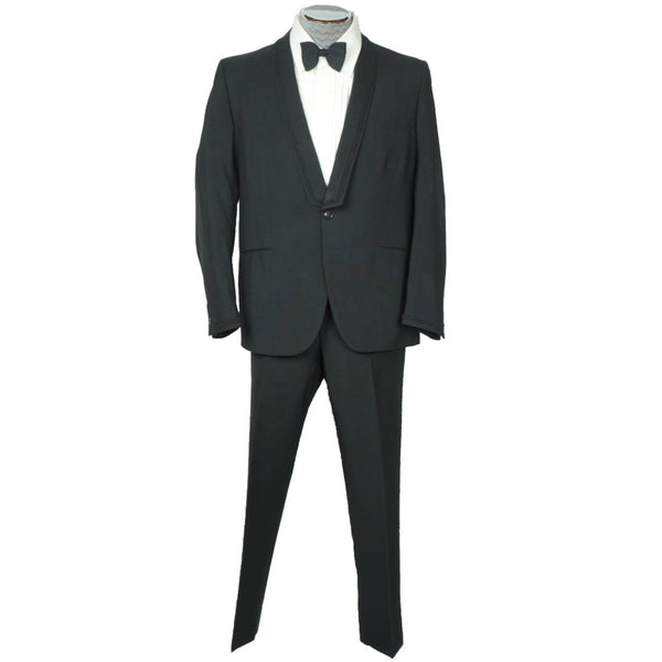 Vintage 1965 Mens Mohair Tuxedo Suit Custom Tailored Lombardi Montreal L - Poppy's Vintage Clothing