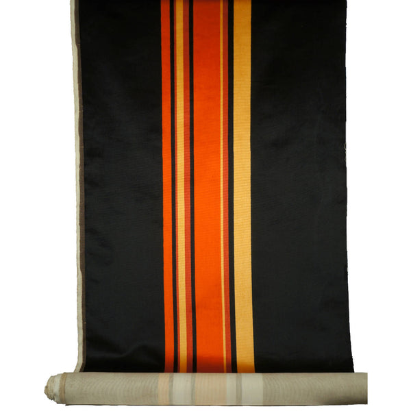 Panton Era Striped Velvet Fabric Material 4 yards 1960s 70s Orange Black Gold - Poppy's Vintage Clothing