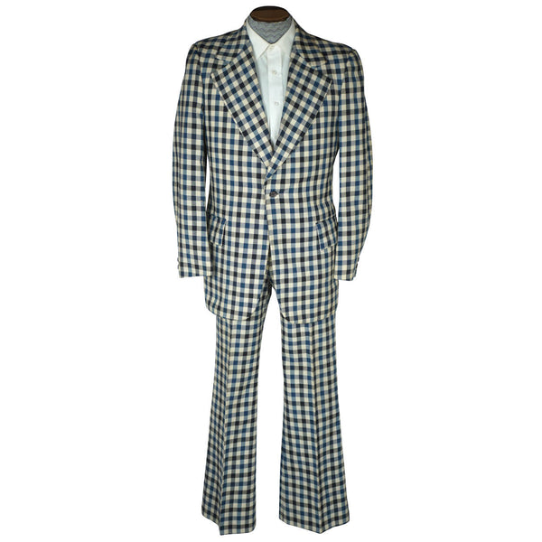 Vintage 1970s Mens Suit Checked Wool Blue & White Check Dated 1973 Size M - Poppy's Vintage Clothing