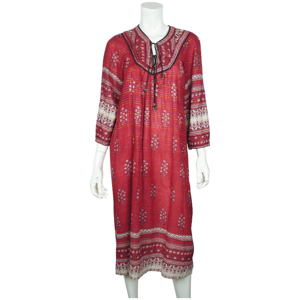1970s-Indian-Red-Cotton-Gauze-Dress