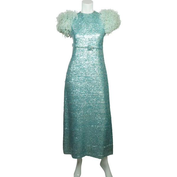 Vintage 1960s Blue Sequin Ball Gown Evening Dress - Sz Small - Poppy's Vintage Clothing