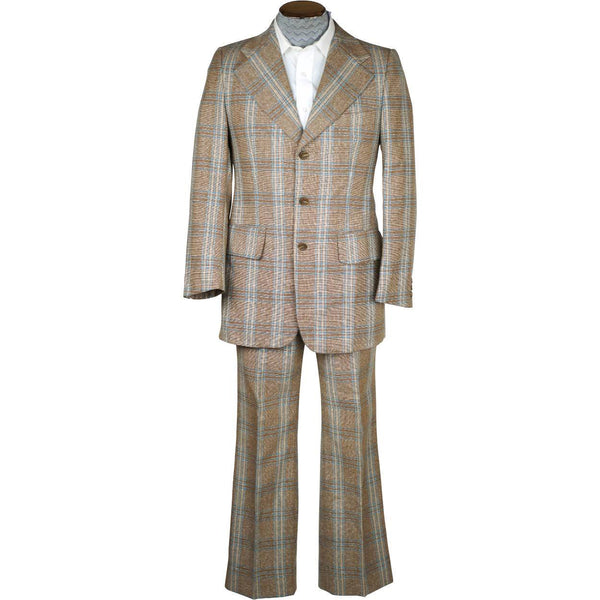 Vintage 1970s Mens Suit Checked Wool Silk Blend Disco Era Size S M - Poppy's Vintage Clothing