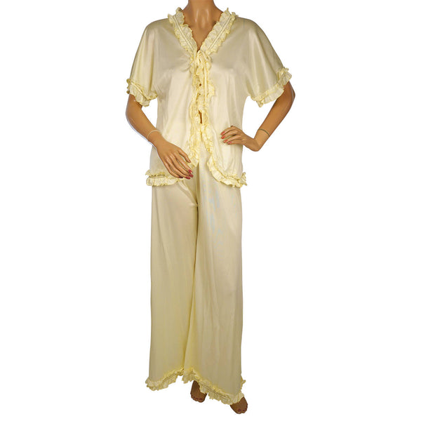Vintage-1970s-Yellow-Nylon-Pyjamas