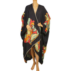 Vintage 1980s Cloak Wrap Black with Abstract Colours All Sizes - Poppy's Vintage Clothing