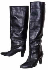 1980s Vintage Boots by Yves Saint Laurent in Black Leather - Poppy's Vintage Clothing