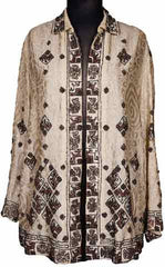1920s Art Deco Beaded Jacket Silk Woven Wool