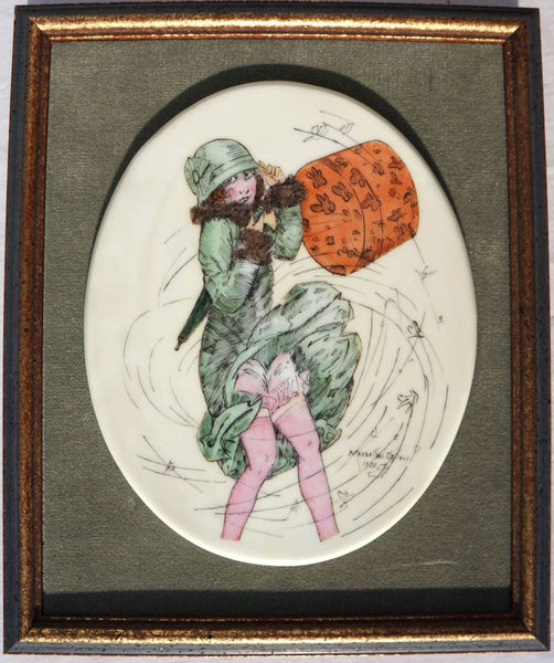Vintage 1920s Flapper Girl Porcelain Wall Plaque - Poppy's Vintage Clothing
