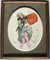 Vintage 1920s Flapper Girl Porcelain Wall Plaque