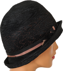 1930s Cloche Hat by United Hatters in Black and Pink Straw - Poppy's Vintage Clothing