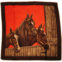 "Vintage Horses Scarf Italian Pure Silk 30"" Square 1960s - Poppy's Vintage Clothing"