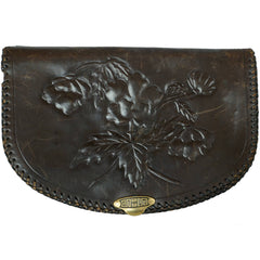 Vintage 1930s Tooled Leather Clutch Purse - Poppy Flowers - Name Anna inside - Poppy's Vintage Clothing