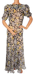 Vintage 1930s Silk Chiffon Dress - Floral Print