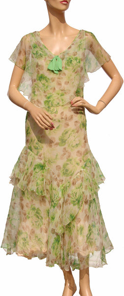 30s Print Silk Chiffon Dress