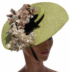 Wide Brimmed Hat 1930s Apple Green Straw with Millinery Flower - Poppy's Vintage Clothing