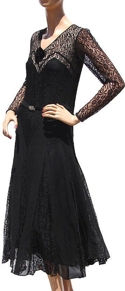 Vintage 1930s Black Lace and Chiffon Dress - Art Deco Styling - Poppy's Vintage Clothing
