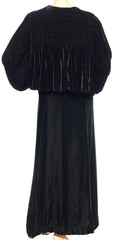 1930s Great Gatsby Era Black Velvet Coat