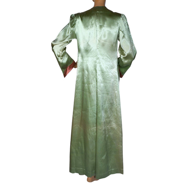 Vintage 1930s Satin Dressing Gown Green Pink Lounging Robe Ladies Size