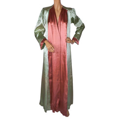 Vintage 1930s Satin Dressing Gown Green Pink Lounging Robe Ladies Size M - Poppy's Vintage Clothing