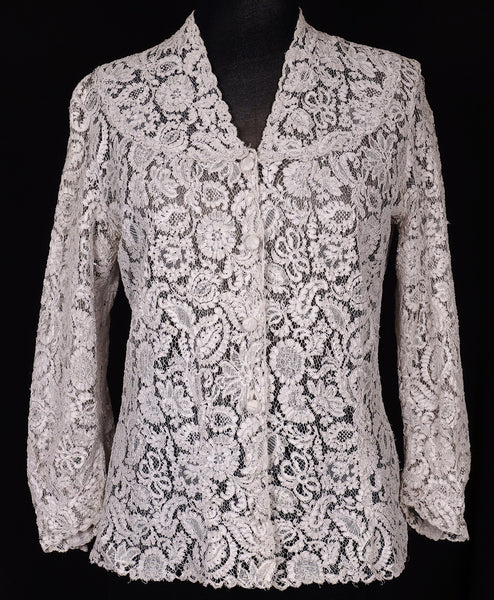 1950s Alencon Lace Blouse - Gray - M - Poppy's Vintage Clothing