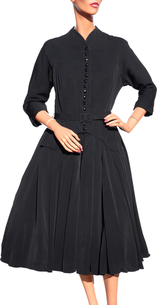 1940s Womens Fashion New Look Dress Black Silk Faille Size M - Poppy's Vintage Clothing