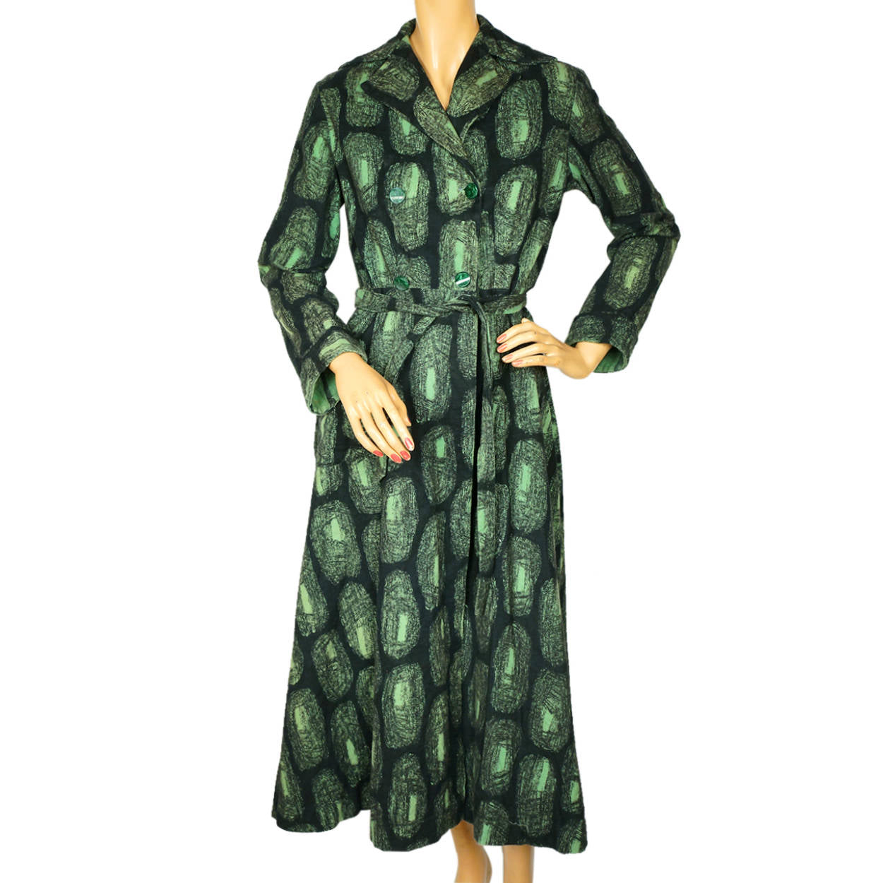 Vintage 1950s Cotton Flannel Dressing Gown Abstract Print Green  amp  e4fe09f08