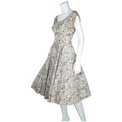 Vintage 50s Dress with Crinoline Skirt Abstract Print Sz S - Poppy's Vintage Clothing