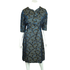 Vintage 50s Brocade Dress Blue Roses Pattern