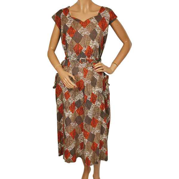 Vintage 1950s Cotton Dress w Abstract Novelty Print Size XL - Poppy's Vintage Clothing