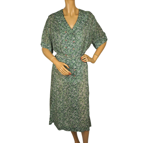 Vintage 1950s Dress Green & Grey Rayon Abstract Geometric Print Size XL - Poppy's Vintage Clothing