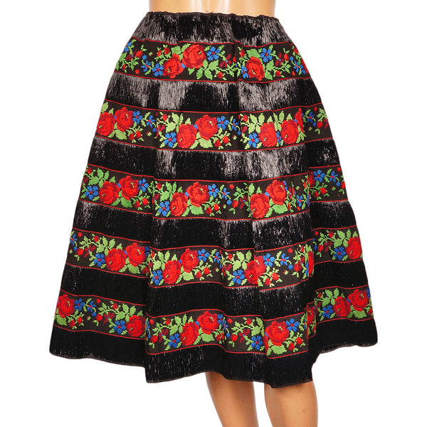 Vintage 1950s Black Raffia Straw Skirt with Embroidered Floral Cotton Ribbon - M - Poppy's Vintage Clothing