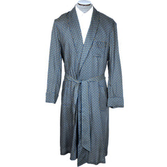 Vintage 50s Mens Dressing Gown Printed Cotton Size L