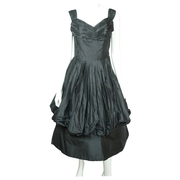 Vintage 1950s Black Silk Taffeta Ball Gown Dress w Bubble Balloon Skirt Size M - Poppy's Vintage Clothing