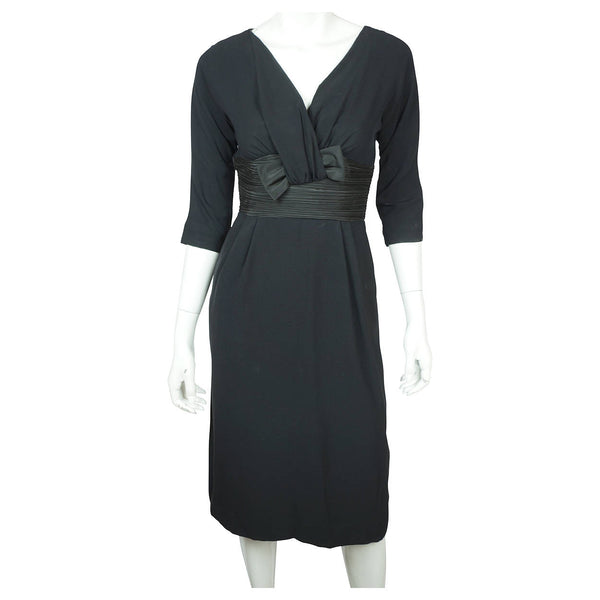 Vintage 1950s Black Crepe Cocktail Wiggle Dress with Taffeta Waist & Bow Sz S M - Poppy's Vintage Clothing