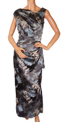Vintage 1950s Burn Out Velvet Printed Silk Evening Gown