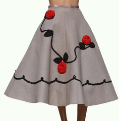 Vintage 1950s Felt Circle Skirt - Rockabilly - Rock and Roll - Small - Poppy's Vintage Clothing