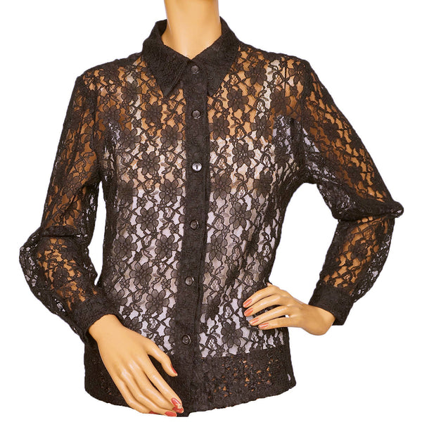 Vintage 1960s Black Lace Shirt Blouse Size M - Poppy's Vintage Clothing