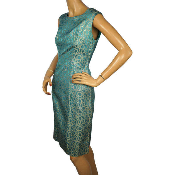 Vintage 1960s Bombshell Dress in Blue Satin with Metallic Gold Lamé Size Medium - Poppy's Vintage Clothing