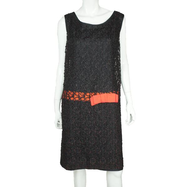 Vintage 60s Does 20s Dress Black Ribbon Lace Size M - Poppy's Vintage Clothing