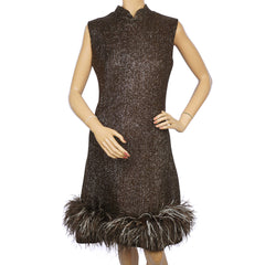 Vintage 1960s Sparkly Brown Lurex Dress with Ostrich Feather Trim Size M - Poppy's Vintage Clothing