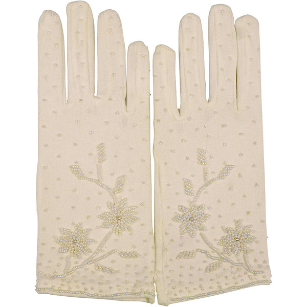Vintage 1960s Gloves White Beaded Nylon Stretch Hong Kong NOS Unused One Size - Poppy's Vintage Clothing