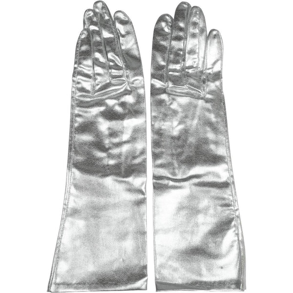 Vintage 1960s Space Age Silver Gloves Unused Futuristic Sci-Fi Ladies Size 6.5 - Poppy's Vintage Clothing