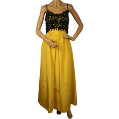 1960s Ball Gown Yellow Silk and Black Lace with Velvet Wrap Size Extra Small - Poppy's Vintage Clothing