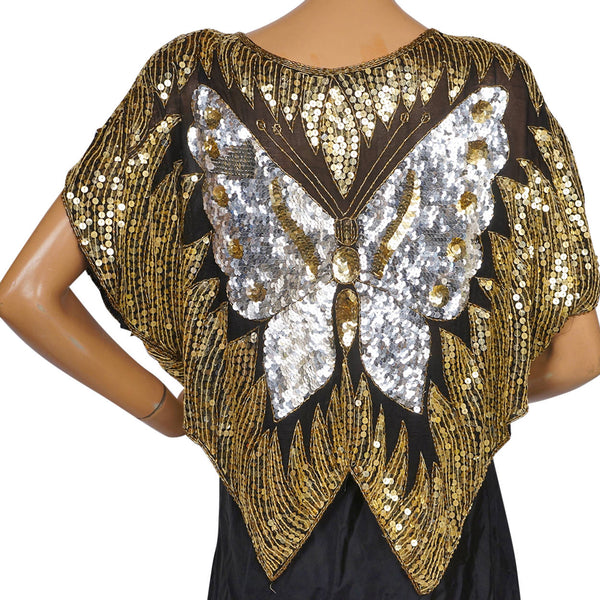 Vintage Disco Butterfly Top Silver & Gold Sequins on Black Silk 1980s Size L - Poppy's Vintage Clothing